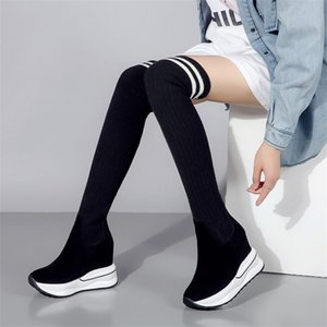 Wholesale Women Black Genuine Leather Over The Knee Boots Stocking Thigh High Riding Boots Wedges High Heel Long Pumps Shoes