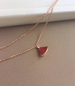 Wholesale s925 diamond pendant for sale - Group buy S925 silver necklace with fan shape with nature red agate and diamond pendant necklace for women necklace wedding gift jewelry PS7063