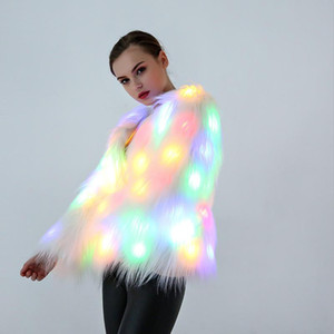 4XL Women Faux Fur LED Light Coat Christmas Costumes Cosplay Fluffy Fur Jacket Outwear Winter Warm Festival Party Club Overcoat