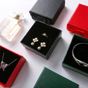 Wholesale 2019 New Kraft Ring Necklace Bracelet Earring Box High Quality Green Black Red Box Packing Ring With Bow