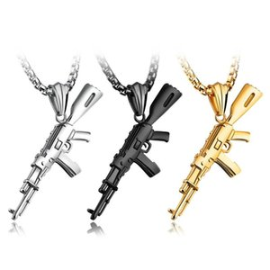 Wholesale AK47 Shape Pendant Necklace Men Hip Hop Jewelry Silver Gold Black High quality titanium steel Army Style Male Chain Necklaces
