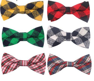 New Plaid Bow ties For Children Baby Neckwear Adjustable Tuxedo Boys Girls For Party Causal Cotton Bowties