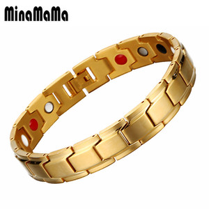 Wholesale Gold Black Color Stainless Steel Ion Germanium Magnetic Bracelets For Women Men Bracelets Energy Balance Health Care Jewelry