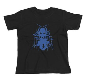 Wholesale Kids Unisex Boys Girls Funny OCTOPUS DRUMMER Drum Drumming Kit Music T Shirt Funny Unisex Casual