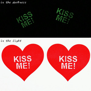 Wholesale DNC Sexy Luminous KISS ME Red heart shape Nipple protection Stickers covers sticker breast pad Tit tape cover for Nightclub Party