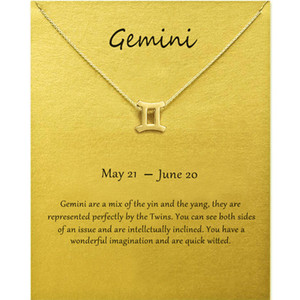 Wholesale gemini zodiac for sale - Group buy Fashion Jewelry Constellation Gemini Pendant Necklaces For Women Zodiac Chains Necklace Gold Silver Color Birthday Gift