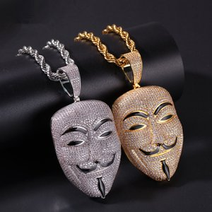Wholesale American Movie V For Vendetta Character Mask Head Zircon Stone Pendant Necklace Mens Iced Out Pendant Gold Brass Hiphop Jewelry RRA2023