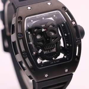 Wholesale cool black watches for men resale online - Boyuheng Quartz Cool Black Mens Watches Skull Head Watch Full Transparent Skeleton Wristwatches Fashion Gift For Man Boy Friend Husbands