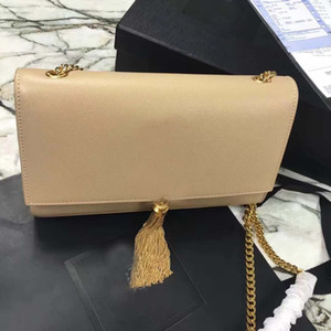 Wholesale clutch bags fuchsia resale online - New Classic Chain bag Purse Handbag With Tassel Clutch Bags Women Genuine Leather Handbag Shoulder Bag Totes Crossbody Bags