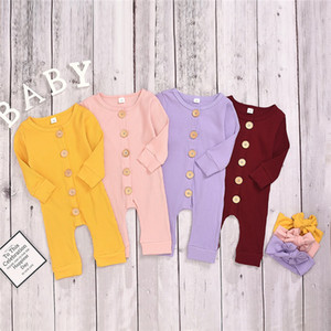 INS Infant Baby Girls Rompers With Hairband Knitted Cotton Blank Long Sleeve Front Buttons Newborn Kids Boys Girls Jumpsuits