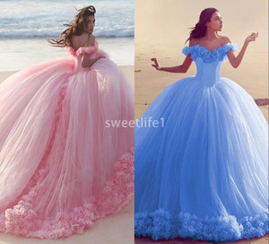 Wholesale 2019 Pink Quinceanera Gowns Princess Cinderella Formal Long Ball Gown Prom Evening Dresses Chapel Train Off Shoulder D Flower