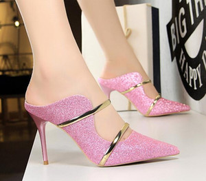 Wholesale luxury Sexy Women sandals and slippers party dress shoes shallow mouth pointed fashion high heels hollow metal word with casual slippers