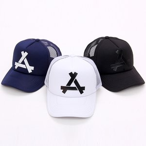 A Letter Baseball Mesh Cap Unisex Breathable Mesh Design Adjustable Hip Hop Hat Boys Girls Golf Polo Sports Hats DH0784
