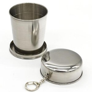Wholesale Portable Folding Cup Collapsible mugs Metal Telescopic Keychain Mugs ml Stainless Steel Portable Outdoor Travel Camping Folding YSY109