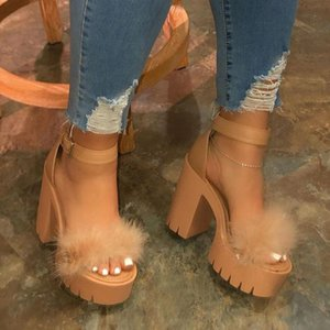Wholesale cute sandals resale online - 2020 Luxury Fur Sandals Women Real Fur Furry Ultra High Heel Platform Sandals Female Cute Fluffy House Shoes Woman