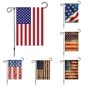 Wholesale 30 CM USA Garden Flag Designs Home Flax Decoration Banner Flag Red Blue Stripes Flag Double Sided Home Lawn Decor Piece ePacke