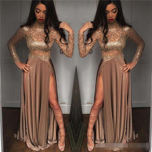 Wholesale 2019 African Gorgeous Beaded Champagne Sequined Evening Dresses Long Sleeves Prom Gowns Vestidos Special Occasion Dresses Evening Wear