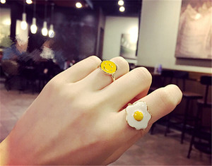 Wholesale Cute Fresh Poached Egg Smile Rings Creative Cartoon Egg sterling silver rings for Women Girls Jewelry Lovely Gift You Look Delicious