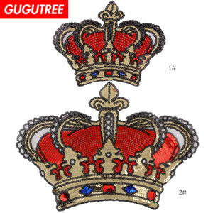 GUGUTREE sequins embroidery big patches crown patches badges applique patches for clothing BP-643