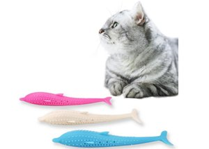 Wholesale Popular pet toothbrush silicone cat teeth cleaning toy cat Mint fish silicone Dolphin medel shape with three colors