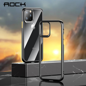 Wholesale For iPhone Pro Max Clear protection Cover ROCK Fashion Shockproof Bumper Transparent Bulletproof Glass Glue Phone Case