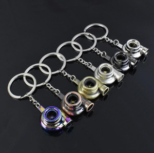 suti Originality Metal Turbo Keychain Sleeve Bearing Spinning Auto Part Model Turbine Turbocharger Key Chain Ring Keyfob Keyring