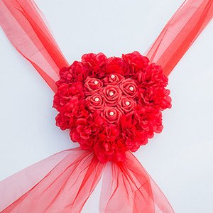 Wholesale Heart Shape Easy Install Centerpiece Wedding Car Flower Wreath Lightweight DIY Valentine s Day Party Decoration Artificial Silk