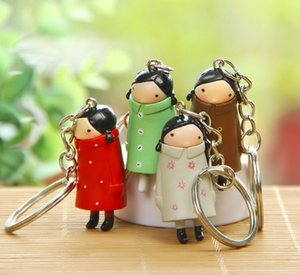 HYS352 Ponytail Long Coat Girl Doll Keychain Cartoon 3D Doll Keychain Handmade Cute Doll Keyring Couple Bag Pendant Company Party Gift