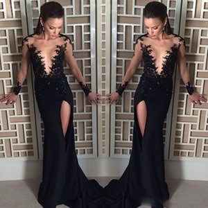 Black Evening Dresses Sexy Sheer V Neck Long Sleeves Lace Appliques Beads Mermaid Side Split Formal Prom Gowns Red Carpet Dress on Sale