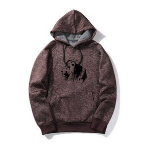 Wholesale Popular new style design men fashion lion printing casual pullover hoodie Jacket long sleeve autumn winter sportswear dyed fabric