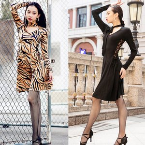Wholesale Latin Dress Female Adult Elegant Black Leopard Long Sleeve Rumba Practice Clothes Modern Ballroom Dance Stage Costumes VO163