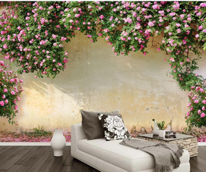 Custom Photo Wallpaper 3D Stereo Rose rose background wall Living Room Wallpaper 3D Painting on Sale