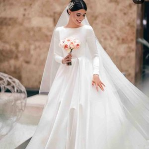 2019 New Modest Wedding Dresses Jewel Neck Satin Boho Bridal Gowns Saudi Arabic A Line Princess Long Sleeves Wedding Dress Plus Size on Sale