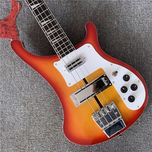 Free shipping,Custom RIC 4 Strings Cherry Sunburst 4003 Electric Bass Guitar Chrome Hardware Triangle MOP Fingerboard Inlay China Guitar