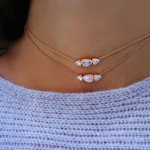 uneven stome triple geometric triangle cz moonstone necklace 925 sterling silver women jeweelry