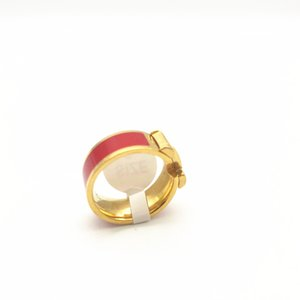 Titanium Steel H enamel Ring silver rose gold ring four colors women and man fashion ring Jewelry