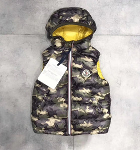 Branded Kids Down Nylon Sleeveless Vest Jacket Designer Boy Girl Zipper Front Closure Winter Hooded Outwear on Sale