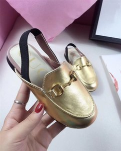Wholesale designer kids sandals gold silver sandals unisex genuine leather children wedding parting wearing comfortable shoe with original box color