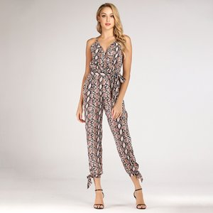 Strap V-neck lace-up jumpsuit snake-striped sexy trousers Shinny Bodycon Two Piece Set Outfits Short Sport Jumpsuit Sets