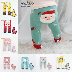 Infant Tights Sock Set Cartoon Stripe Baby Leggings Elastic Cotton Soft Toddler PP Pants + Sock Set