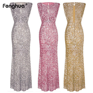 Wholesale Fenghua Sexy Slim Sequined Dress Women Formal Long Summer Dress Female Elegant Sleeveless Club Evening Party Maxi Dresses