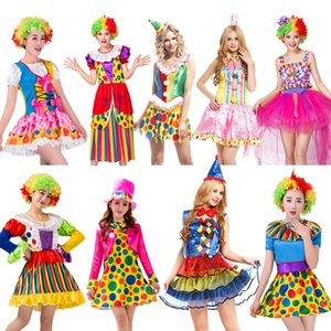 Halloween Free shippingHoliday Cosplay Party Dress Up Clown Suit Costume Variety Funny Clown Costumes Adult Woman Joker CostumeMX190921