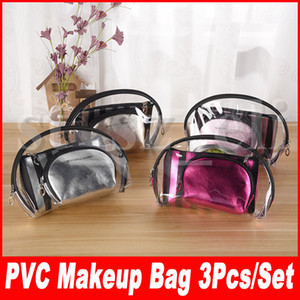 Wholesale 3pcs set Clear Waterproof Makeup Bags Fashion Women Transparent Cosmetic Bag Travel Storage Bags Colors