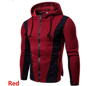 Wholesale retail autumn and winter new men s hooded color matching plus velvet long sleeved sweater coat