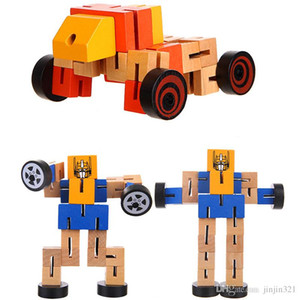 Kids Toys Wholesale Wooden Car People Puzzle Deformation Wood Robot Model Toys Deformation Robot Puzzle Blocks Hot Sell