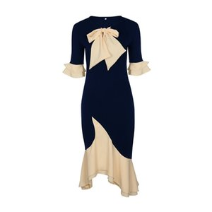 Wholesale Big Size XL Elegant Women fashion dress half sleeve bow irregular botton Solid Color Knee Length Pencil Dress Office Lady Dress Vestidos