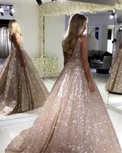Wholesale Gorgeous Rose Gold Sequined Prom Dresses 2019 Sparkle Sequin A-line Prom Gowns Sexy Backless Abiye Party Dress Robe De Soiree