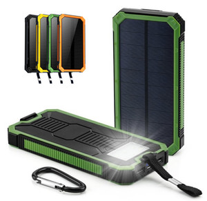 Wholesale Universal mah Waterproof solar Power Bank External Battery charge Dual USB Powerbank Portable phone Charger for iPhone XS max Xiaomi