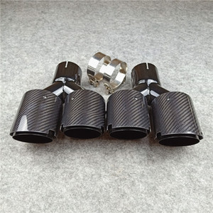 Multi Size: Glossy Black Carbon Exhaust Tip Fit Universal Cars Glossy Black Stainless steel Double Muffler Tailpipes