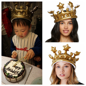 Wholesale kings hats gold resale online - Crown Balloon hat Inflatable Gold Crown Kids adult Birthday Party Hat CosPlay Tool Balloon Stage Prop King Queen Day Costume Halloween Decor
